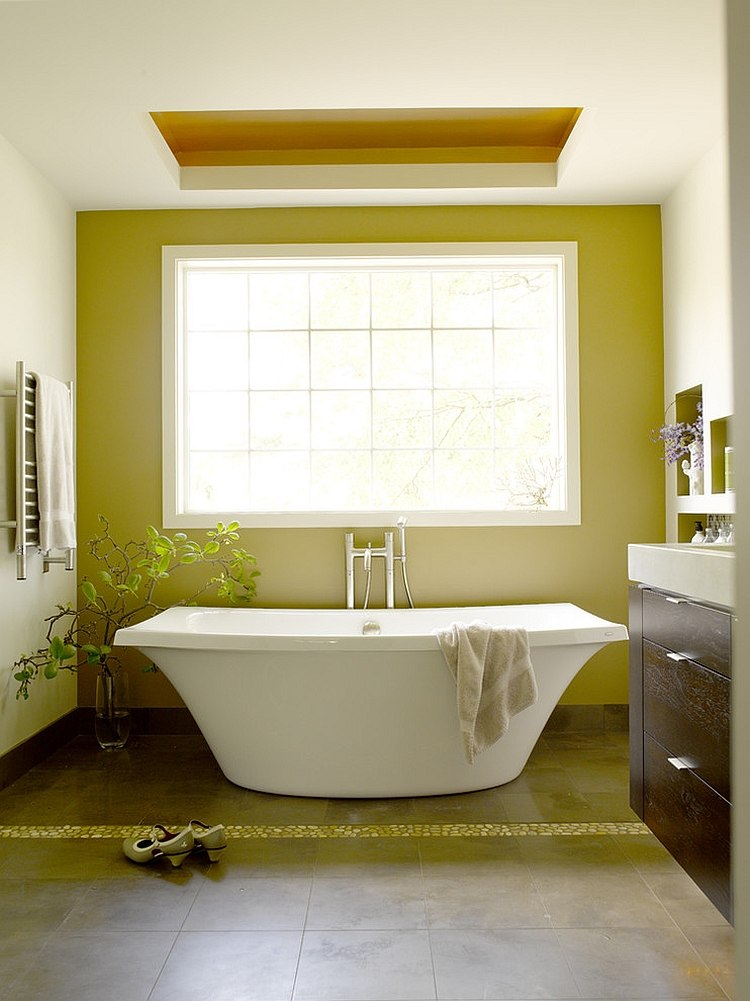 Natural light heightens the visual effect of green in this bathroom [Design: Jennifer Gardner Design]