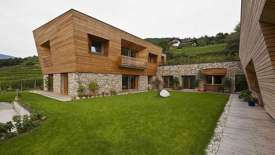 Natural stone and wood gives the home a serene appeal