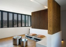 Natural wood brings visual warmth to the modern interior