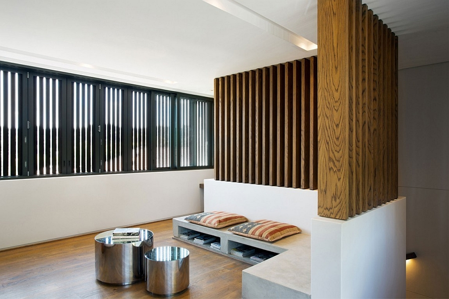 Natural wood brings visual warmth to the modern interior