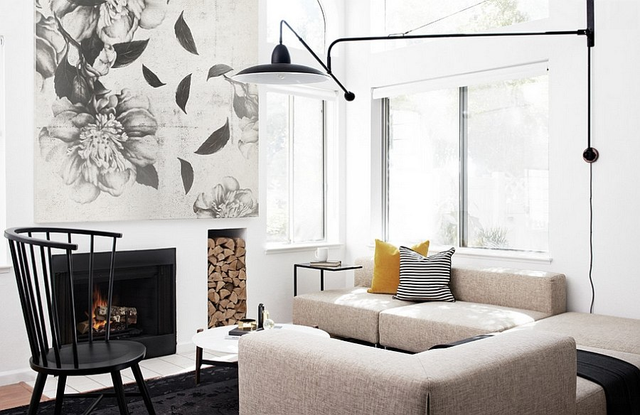 Neutral backdrop of the room ensures that the woodpile stands out with ease