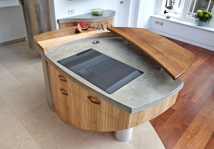 Non symmetrical rhomboid shaped kitchen island