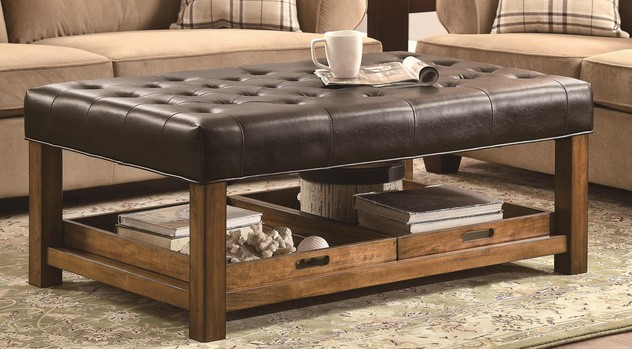 Ottoman With Tufted Seating And Removable Serving Trays By Coaster