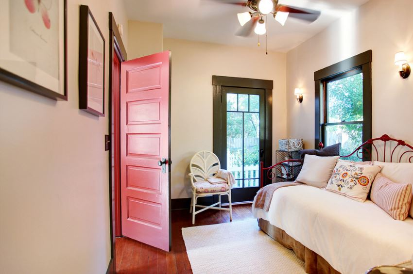 Painted door in a farmhouse bedroom