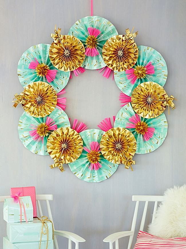 Oh Joy! paper fan wreath tutorial