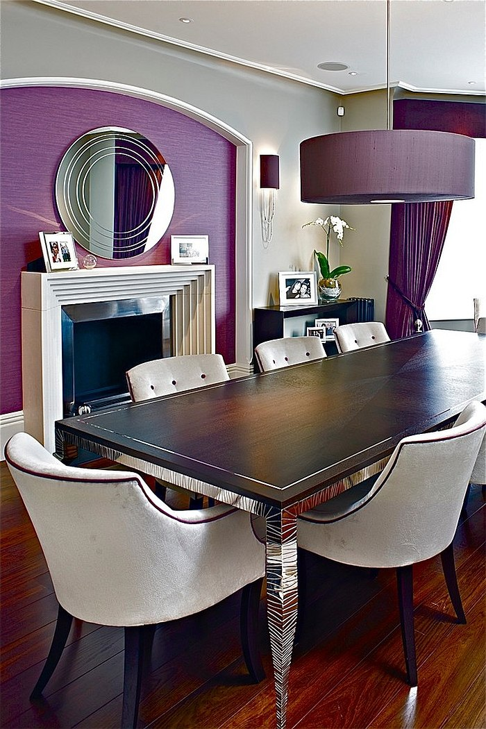 Pendant lamp in purple is perfect for the dramatic dining room [Design: FiSHER iD]
