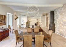 Pendant light becomes the focal point in the eclectic space