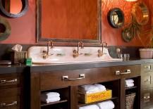 Pendant-lights-elevate-the-appeal-of-the-rustic-bathroom-in-orange-217x155