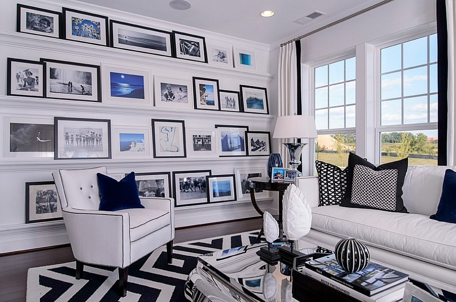 Picture ledges used to create an inimitable gallery wall [Design: M/I Homes]