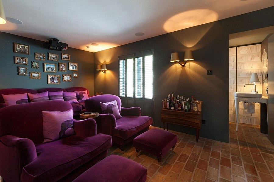 Plush purple seating in the large home theater