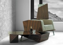 Polished sofa and coffee table with transformable style and adaptable features