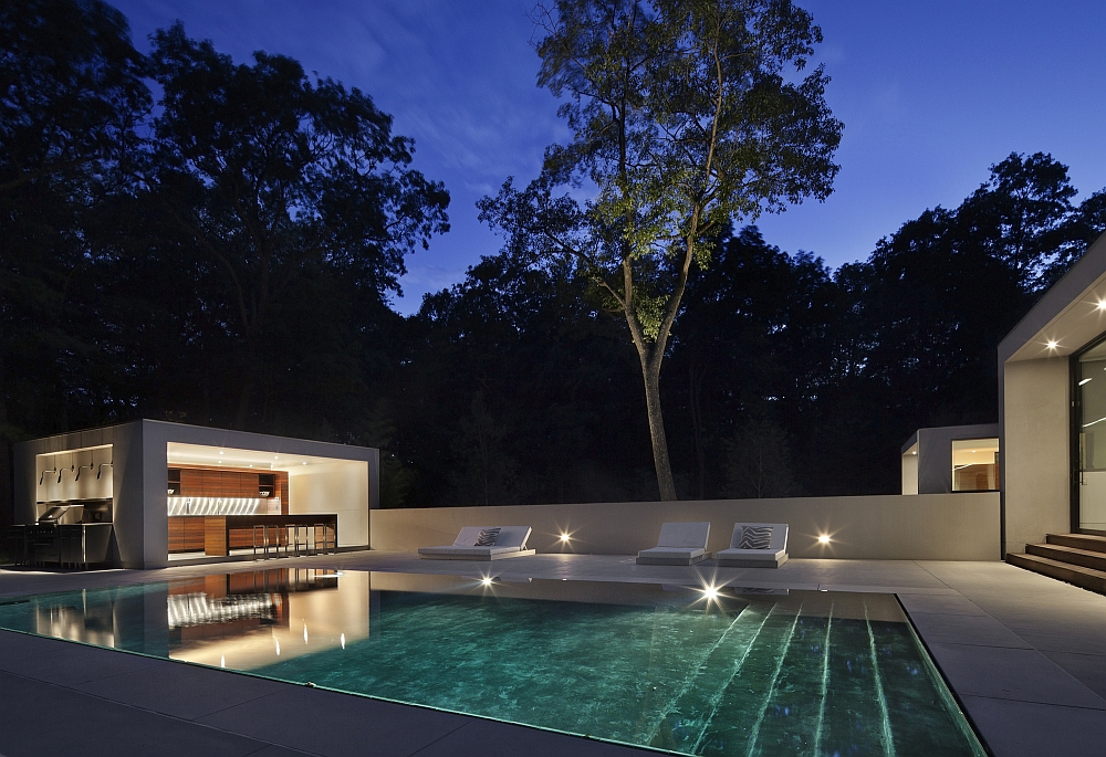 Pool house and barbecue area adds to the beauty of the home