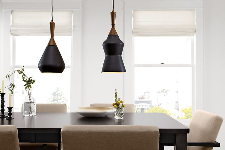 Porcelain, wood and brass pendant lighting from Room and Board