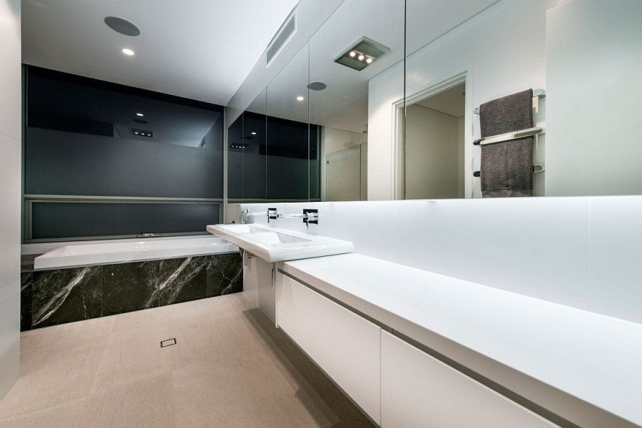 Posh contemporary bath in gray, white and black