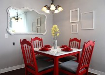 Red chairs bring excitement and playfulness to the room
