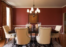 Red dining room walls with a touch of white