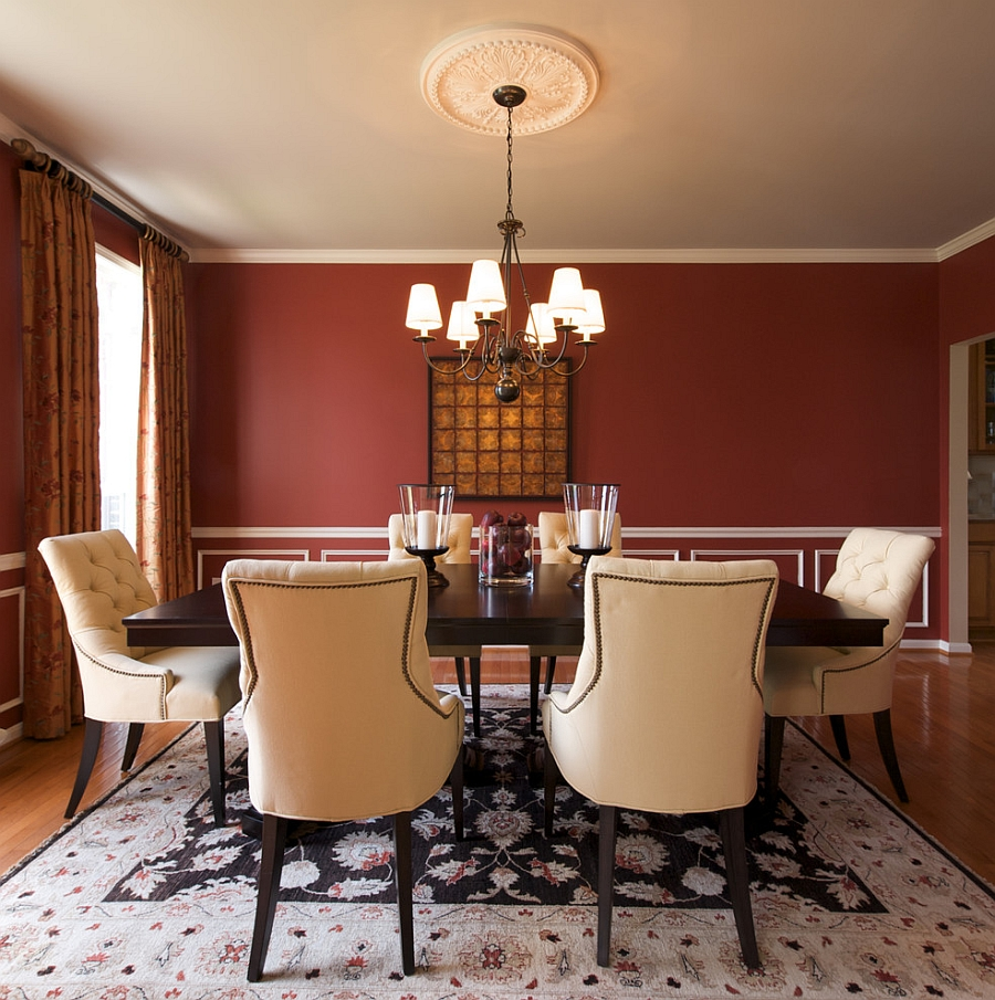 red dining room walls with a touch of white design decor by denise - Dining Room Red Paint Ideas