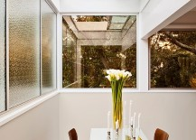Retractable skylight brings a touch of romance to the small dining room!