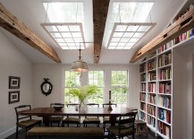 Rustic dining room with grand custom skylights 217x155 27 Ingenious Dining Rooms That Tap into the Brilliance of Skylights!