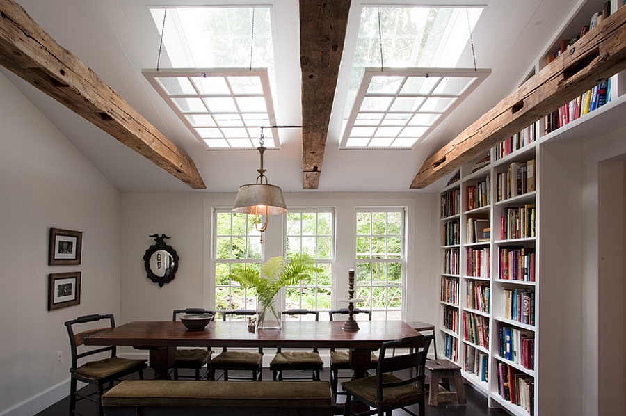 Rustic dining room with grand custom skylights [Design: Sullivan Building & Design Group]