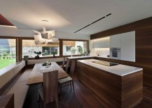 Sculptural pendant steals the show in the kitchen