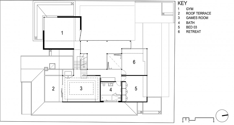 Second level floor plan of the contemporary Aussie home in Victoria