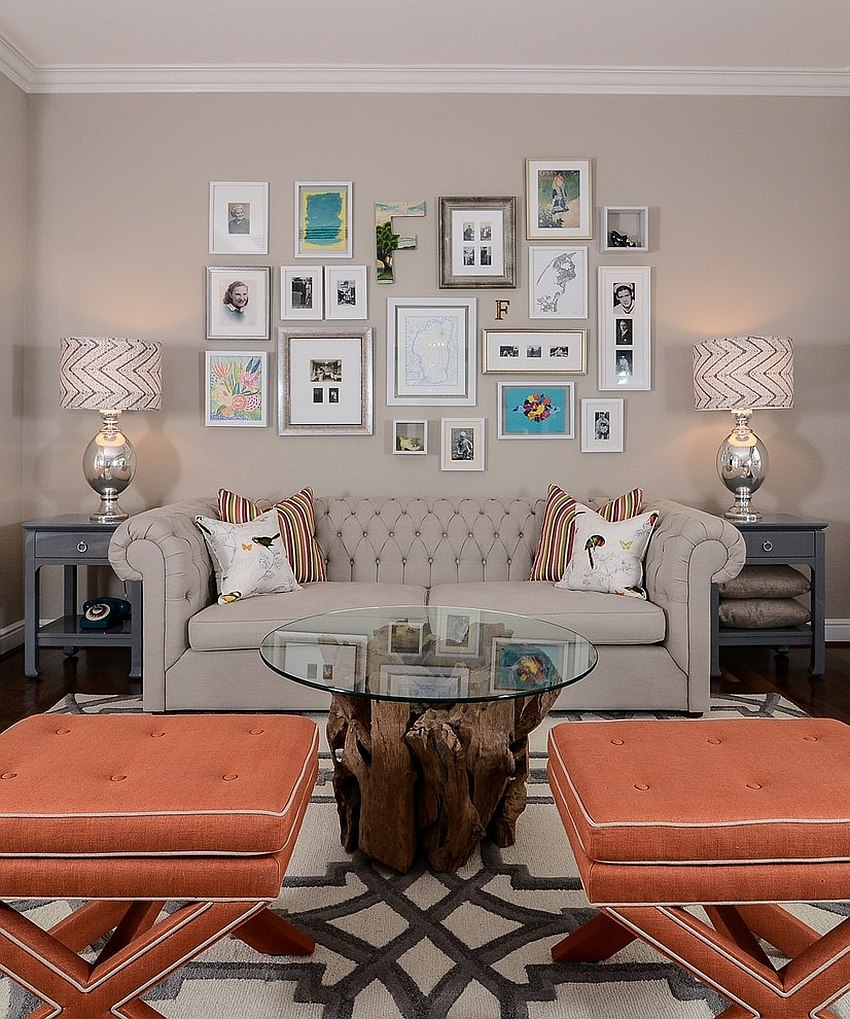 Serene living room with a smart gallery wall [Design: Kerrie L. Kelly]