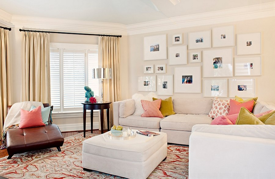 Shape a cool gallery wall using personal photographs [Design: Elizabeth Metcalfe Interiors & Design]