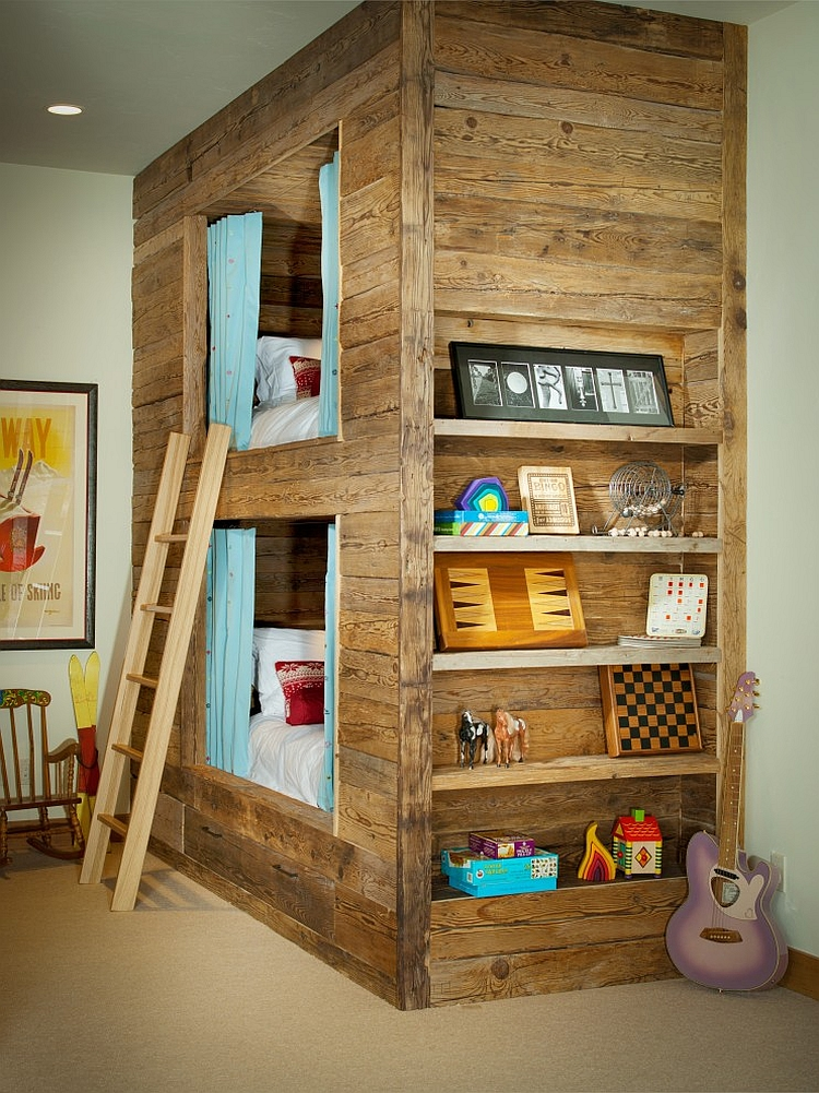 Shape a unique bunk bed for the rustic kids' room [Design: Slifer Designs]