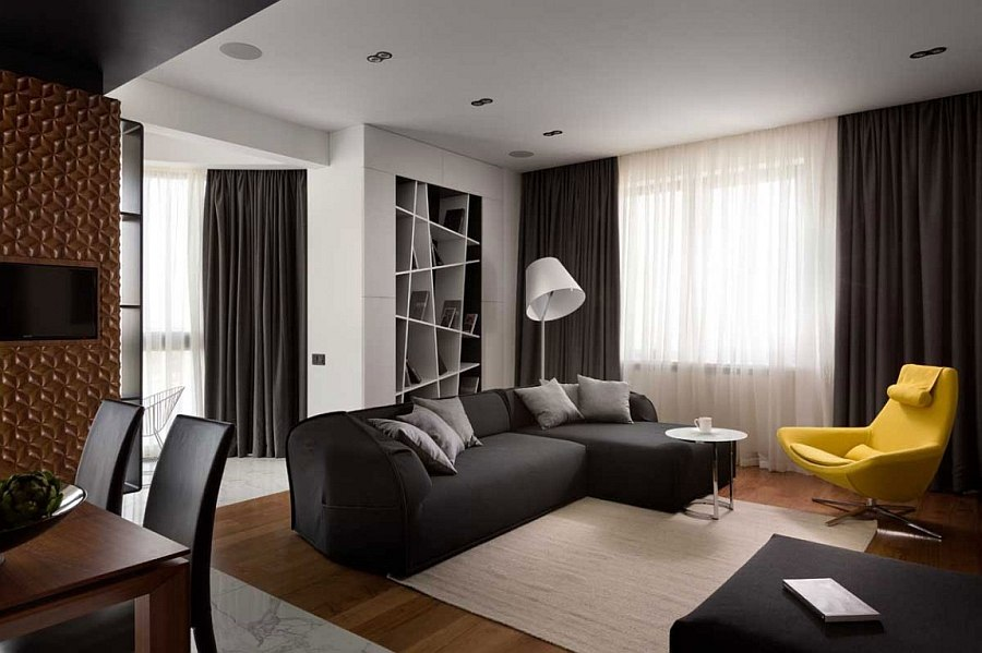 Sheer curtains along with dense graphite curtains in gray offer perfect insulation