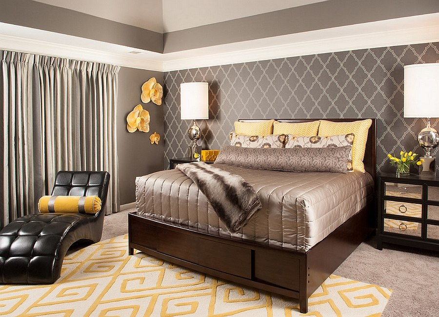 Shiny glint of silver adds chic glamour to the smart bedroom [Design: Decorating Den Interiors --The Sisters & Company]