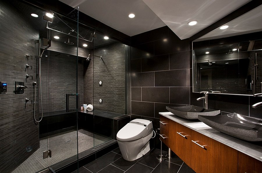 Awesome 10 Gorgeous Bathrooms With Black Tile
