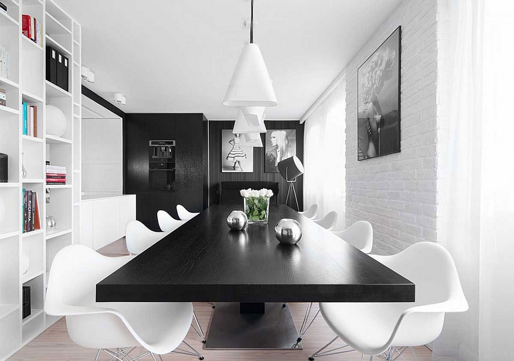 Simple and elegant dining room acts as a transition between spaces