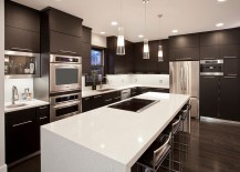 Simple kitchen layout with neutral colors and ergonomic shelves
