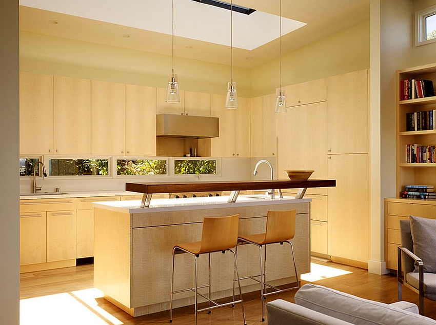 Skylight brings ample natural ventilation into the transitional kitchen