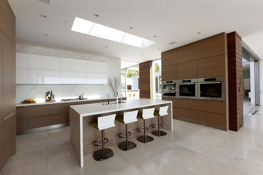 Skylight brings more natural light into the gorgeous modern kitchen