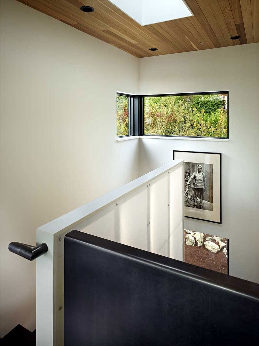Skylights and windows bring in ample natural light