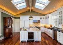 Skylights bring drama to this traditional kitchen