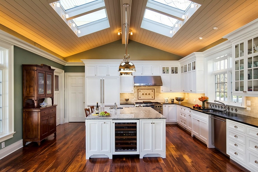 25 Captivating Ideas for Kitchens with Skylights on landscaping ideas with lighting, patio design ideas with lighting, white kitchen cabinets with lighting, kitchen cabinetry with lighting,