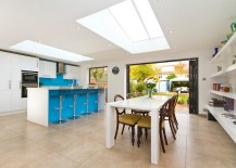 Skylights give the room a cheerful, airy ambiance