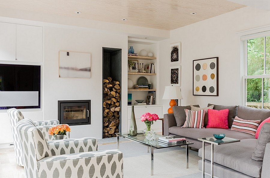 Sleek firewood storage space in the smart living room [Design: Terrat Elms Interior Design]