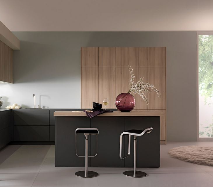Sleek kitchen with a marsala vase