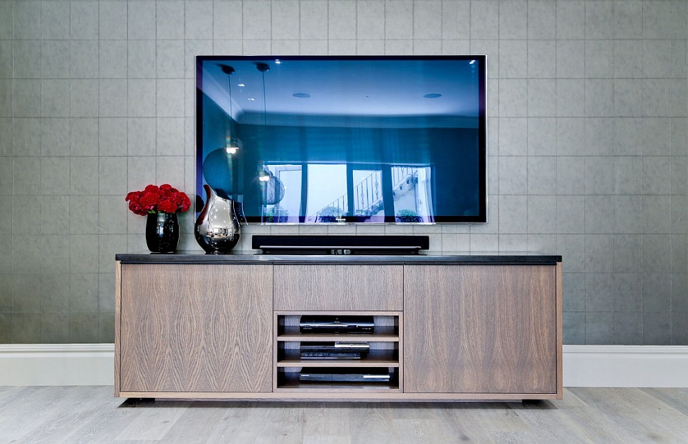 Sleek wooden TV Cabinet tucks away the entertainment center