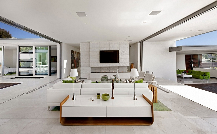 Sliding glass doors blur the lines between the interior and outdoors