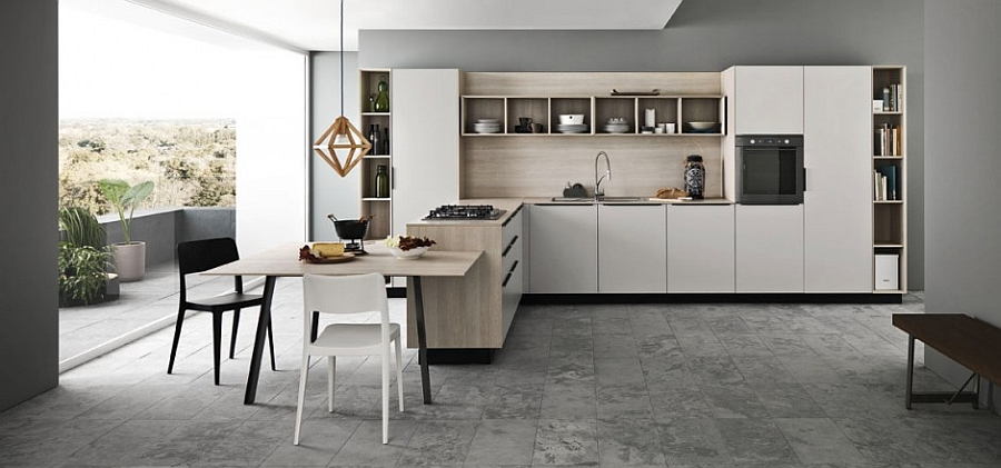Smart Ariel kitchen in slik effect ash melamine 11 Inspired Contemporary Kitchens with Compositional Freedom