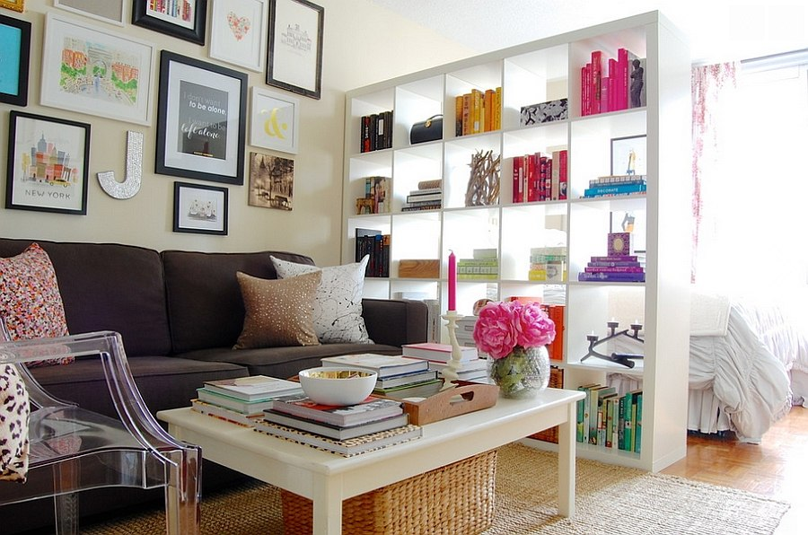 Smart bookshelf used as a room separator [From: Corynne Pless Photography]