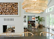Smart firewood storage space becomes an artistic addition in this dining room 217x155 The Artful Woodpile: 30 Fabulous Firewood Storage Ideas!
