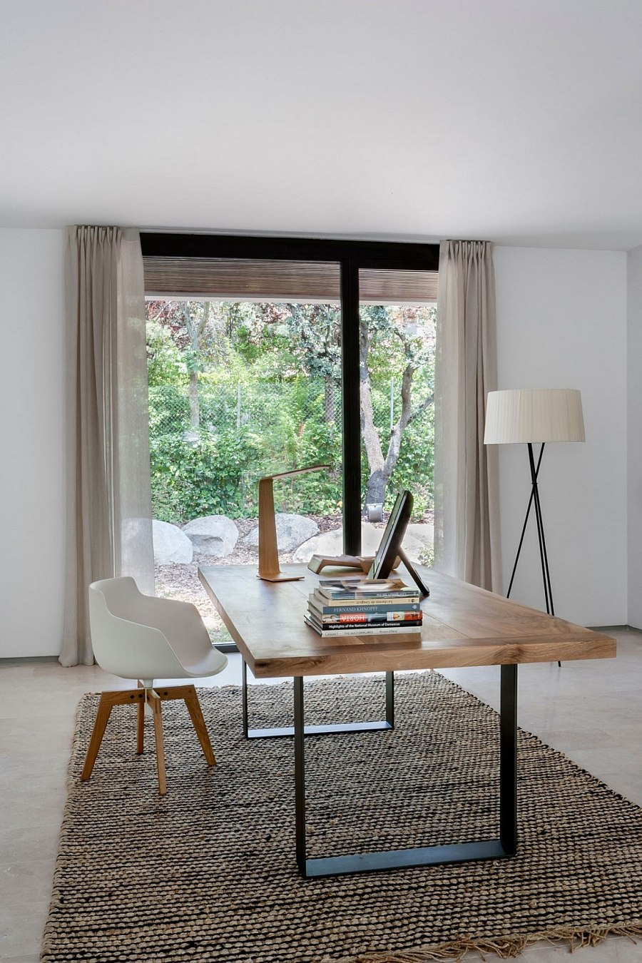 Smart home office with lovely desk lamp and tripd floor lamp!