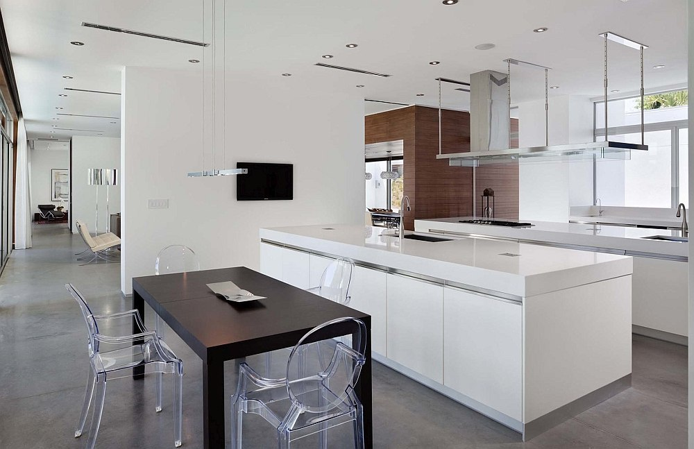 Smart partition separates the kitchen from the living area