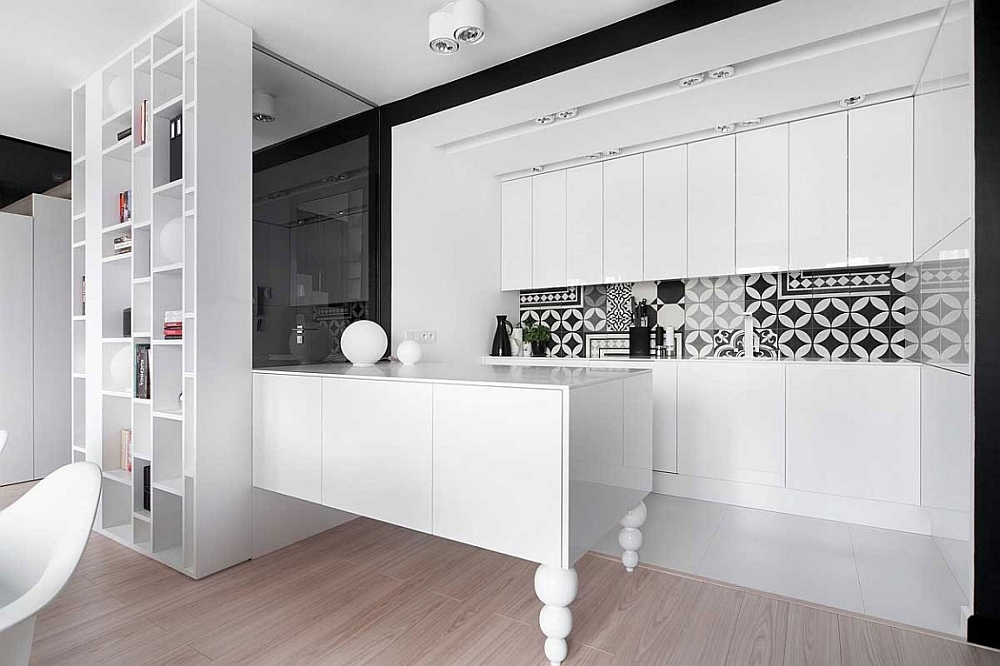 Smart space-saving minimalist kitchen in white